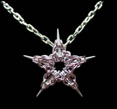 Pink Captive Star Chain Maille Pendant by FeMailleTurtle on deviantART