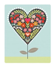 Getting in the valentine spirit - CbyC Original Illustration - Heart Flower Limited Edition Print