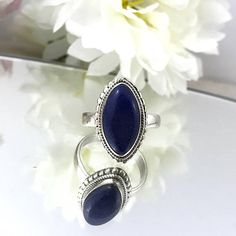 Superb Sterling Lapis Lazuli Ring 925 Silver Vintage Ring Native Style stone ring blue stone sterling ring decorated lapis lazuli ring. by TheOldJunkTrunk