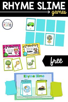 Rhyming is an important part of word discovery and learning to read. These engaging rhyming games make the practice fun and easy! #reading #prereading #rhyming #wordfamilies #picturesort #memory #concentration #rhymingteachingsequence Fun Phonics Activities, Rhyming Games, Slime Games, Reading Comprehension Strategies, Kindergarten Reading, Word Families, Reading Skills, Learn To Read, Discovery