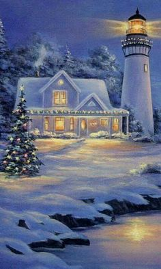 Solve Snowy Winter Lighthouse jigsaw puzzle online with 77 pieces Winter Christmas Scenes, Christmas Art, Nautical Christmas, Winter Painting, Winter Art, Christmas Drawing, Christmas Paintings, Winter Pictures, Christmas Pictures