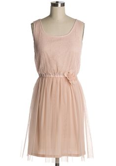 mesh blush dress, scattered sequins through the top, whimsical skirt, floral accent at waist. $48!
