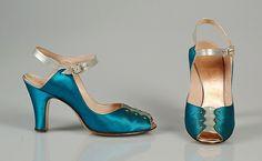 Chaussures en satin, ca.1945  Delman pour Bergdorf Goodman