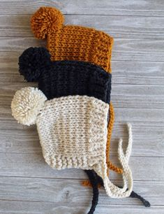 Your place to buy and sell everything handmade - knitting . Your place to buy and sell everything handmade – knit baby hat, baby bonnet, infant hat, winter h Baby Girl Winter Hats, Baby Girl Hats, Girl With Hat, Knitting Projects, Knitting Patterns, Crochet Patterns, Loom Patterns, Baby Hats Knitting, Crochet Hats