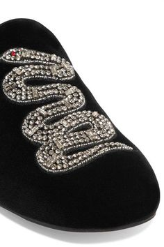 Heel measures approximately inches Black velvet Slip on Made in Italy Taylor Swift Outfits, Shoes Ads, Velvet Slippers, Embellished Shoes, Black Crystals, Bottega Veneta, Black Velvet, Gucci, Loafers