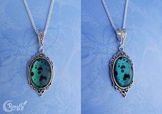 'Stones of the valley'  Fantasy necklace with a black - holographic turkuoise/green stone pendant. Made by Rowan Hogervorst - Ronafly