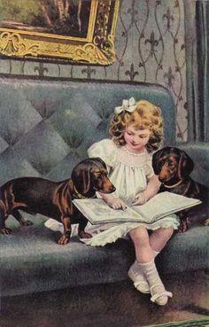 Het meisje en honden