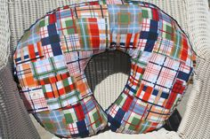 Going Coastal Plaid and Minky Dot Boppy Cover. $25.00, via Etsy.