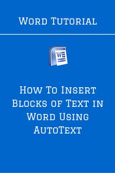 In this Word tutorial, we show you how to save and later insert blocks of text in a document using the AutoText feature.