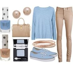 Pale light sky blue loose fitting shirt. Light tan brown pants. Skinny jeans. Spring outfit. Fashion. Cute. Pretty.