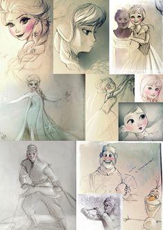 Frozen | Sketches - Elsa Anna Kristoff Olaf Oaken by MitsouParker