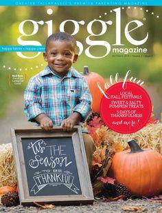 Giggle Magazine- October/November 2015 Tallahassee. Halloween/Fall/Pumpkins/costumes/Thanksgiving