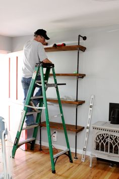 step-by-step instructions for DIY metal pipe shelves I could see this done with rusted pipe & weathered barn wood!