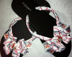 adccb017517d17 Bling Rhinestone Baseball Mom Bow Flip Flops Bow Flip Flops