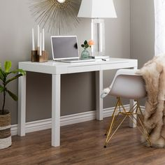 Student Desk White ($175) ❤ liked on Polyvore featuring home, children's room, children's furniture and white