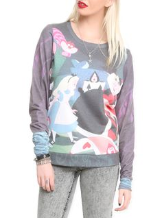 Pullover top from Disney's Alice in Wonderland with Alice and the Queen of Hearts playing croquet design. I want this ugh