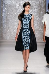 Look 23 - Dress - Blue stretch faille dress with black beaded motif front and pleated stretch faille back