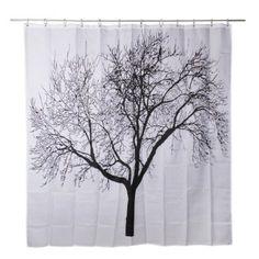 Waterproof Bathroom Fabric Shower Curtain, Tree Design