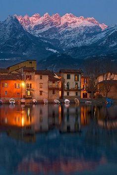 Lake Como at dusk, Lombardy, Italy!