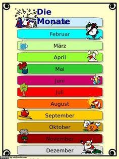 DIE MONATE AUF DEUTSCH -GERMAN: MONTHS AND CALENDAR - TeachersPayTeachers.com