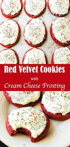 These Red Velvet Cookies with Cream Cheese Frosting are the perfect unique addition to any holiday cookie platter! See the recipe at www.brownbutterandbiscuits.com!