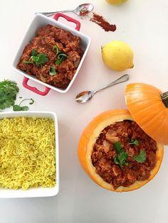 Morrocan Stew in a Pumpkin Bowl. Three creative recipes to serve in pumpkin bowls.