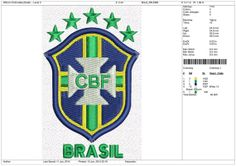 Soccer Embroidery Designs  Brazil   3 4 5 & 6IN by OneSuperDesign, $8.50