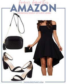 Wedding Guest Dresses all from Amazon Wedding Guest Accessories, What To Wear To A Wedding, How To Wear, All Black Looks, Under Dress, Dress Codes, Happy Friday, Lace Dress, Autumn Fashion
