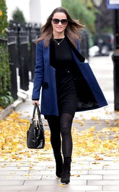 Pippa Middleton, Black Booties & Blue Coat