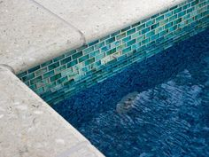 Frosted blue glass mosaic tile caps the 2013 HGTV Smart Home's pool walls. [This would be fine just for an edge around the pool - don't want the whole pool tiled. too slippery. Swimming Pool Pictures, Swimming Pool Tiles, Swimming Pool Designs, Pool Coping, Porches, Mini Piscina, Coping Stone, Indoor Outdoor, Outdoor Living