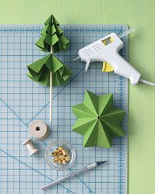 How-To: Paper Evergreens.  These paper trees are as pretty as origami versions but easier to make.