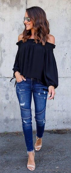 #summer #outfits Black Off The Shoulder Top + Ripped Skinny Jeans