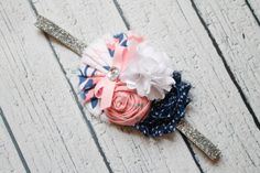 Navy pink and silver baby headband by BabycakesBowtiquee2 on Etsy