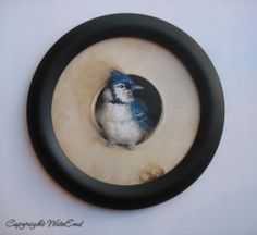 'THE HIDING PLACE'.Blue Jay Bird painting framed original ooak tromp l'oeil by 4WitsEnd, via Etsy.  SOLD