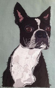 Raw Edge Applique 'Rosie Rose the Boston Terrier' Free Motion Embroidery, Machine Embroidery, Applique Designs, Embroidery Designs, Dog Quilts, Animal Quilts, Best Friends Pets, Raw Edge Applique, Thread Painting