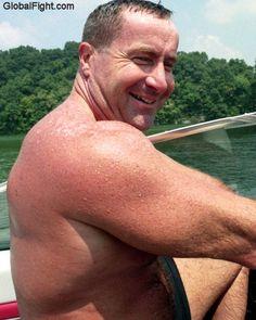 wet handsome man boating