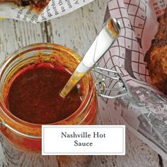 Nashville Hot Sauce Recipe + VIDEO - The Best Nashville Hot Chicken! - Nashville Hot Sauce is a regional hot sauce made from cayenne pepper, other spices and brown sugar. Served on fried chicken! Hot Wing Sauces, Chicken Wing Sauces, Chicken Sauce Recipes, Hot Sauce Recipes, Sauce For Chicken, Chicken Spices, Hot Sauces, Hot Sauce Canning Recipe, Chicken Wings