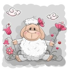 Cute Sheep with flowers on a meadow Funny Sheep, Cute Sheep, Baby Sheep, Sheep And Lamb, Cute Animal Drawings, Cute Drawings, Cute Clipart, Cute Images, Cute Cartoon