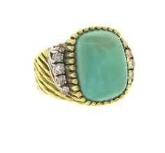 1970s 18k Gold Turquoise Diamond Ring Featured in our upcoming auction on March 21, 2016!