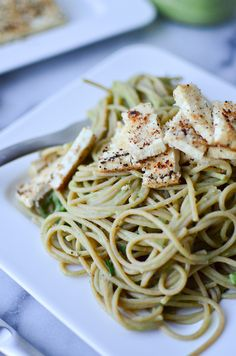 Cauliflower Pesto Pasta! Creamy, dairy-free pesto-cauliflower sauce with seared tofu and whole-wheat pasta