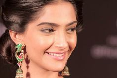 Sonam Kapoor in Sunita Kapoor earrings at the L'Oreal Paris India - Cannes press conference