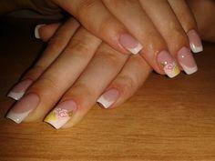 Lovely little roses on white french gel nails