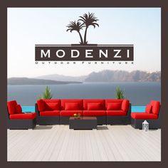 MODENZI DELUXE 7G ALL Weather Modern Outdoor PE Wicker Sofa Patio Furniture Set #MODENZI