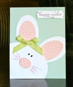handmade punch art Easter bunny card from Crystal's Cards . super cute with great big head filling the card . by bethany Diy Easter Cards, Easter Crafts, Handmade Easter Cards, Easter Ideas, Tarjetas Stampin Up, Stampin Up Cards, Baby Cards, Kids Cards, Cards Diy