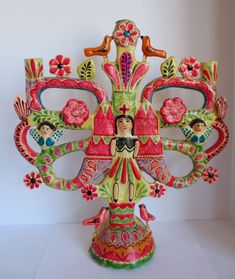 Vintage Mexico/Mexican Pottery Large Tree of Life Candelabra Ceramic Painting, Ceramic Art, Mexican Colors, Kitsch Decor, Tree Of Life Art, Mexican Ceramics, Arte Popular, Mexican Folk Art, Eclectic Decor