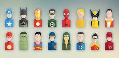 Free Set of Flat Super Heroes Busts -