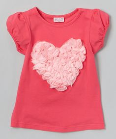 Look at this Hot Pink Rose Heart Tee - Infant, Toddler & Girls on #zulily today!