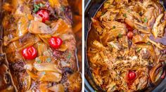 Pepper Pulled Pork is sweet and spicy with brown sugar, maraschino cherries and candied jalapenos. Perfect for dinners or in sandwiches and so easy! Pork Loin, Pork Roast, Dr Pepper Pulled Pork, Candied Jalapenos, Maraschino Cherries, Sweet And Spicy, Brown Sugar, Slow Cooker, Sandwiches