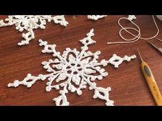 Crocheted Snowflake (it looks like frivolite! Crochet Snowflake Pattern, Crochet Stars, Christmas Crochet Patterns, Holiday Crochet, Crochet Snowflakes, Doily Patterns, Crochet Gifts, Crochet Motif, Crochet Doilies