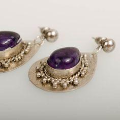 Bohemian Earrings with Purple Stone www.claspandhook.com